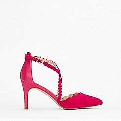 Wallis - Pink Scalloped Cross Strap Court Shoes