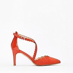 Wallis - Orange Cross Strap Court Shoes