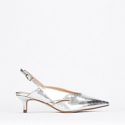 Wallis - Silver Slingback Court Shoes