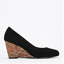 Wallis - Black Wedge Court Shoes
