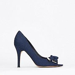Wallis - Navy Peeptoe Folded Trim Court Shoes
