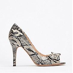 Wallis - Stone Peeptoe Folded Trim Court Shoes