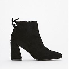 Wallis - Black tie flared heel ankle boots