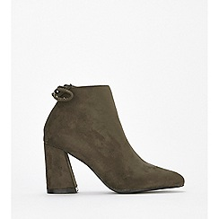 Wallis - Olive tie flared heel ankle boots