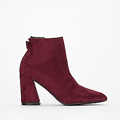 Wallis - Berry tie flared heel ankle boots