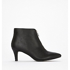 Wallis - Black front zip ankle boots