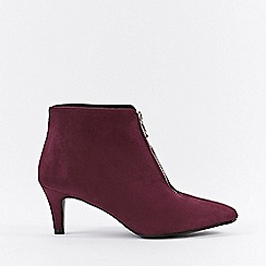 Wallis - Berry front zip ankle boots