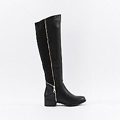 Wallis - Black polyurethane open zip knee high leg boots