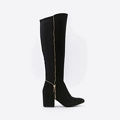 Wallis   Black Open Zip Knee High Leg Boots by Wallis