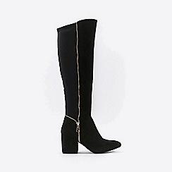 Wallis - Black open zip knee high leg boots