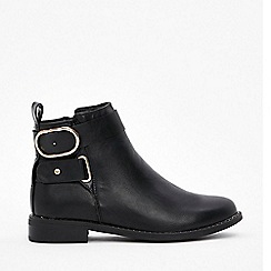 Wallis - Black studded flat ankle boots