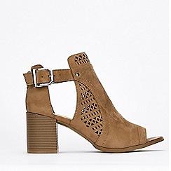 Wallis - Taupe Laser Cut Shoe Boots