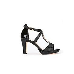 Wallis - Black chain trim t-bar platform sandal