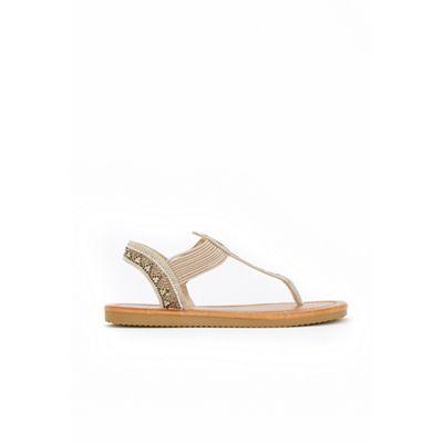 Wallis - Camel graphic diamante elasticated low wedge sandals
