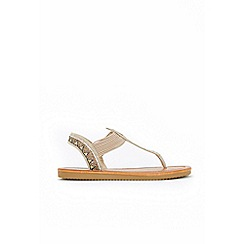 Wallis - Camel graphic diamante elasticated low wedge sandals