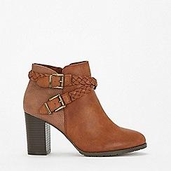 Wallis - Tan plaited heeled ankle boots