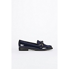 Wallis - Navy bow detail loafers