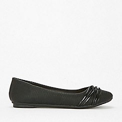 Wallis - Black lattice trim ballet pump shoes