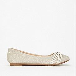 Wallis - Stone lattice trim ballet pump shoes