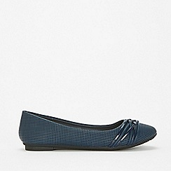 Wallis - Navy lattice trim ballet pump shoes