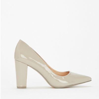 eb592e7c3482 Wallis - Grey pointed block heel court shoes