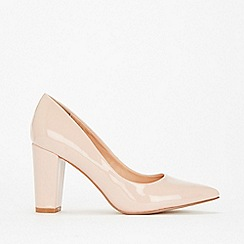 Wallis - Pink pointed block heel court shoes