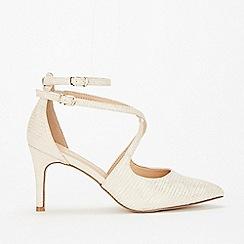 Wallis - Stone cross strap court shoes