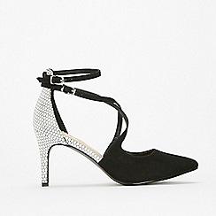 Wallis - Monochrome cross strap court shoes