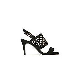 Wallis - Black eyelet sandals