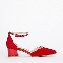 Wallis - Red low block heel court shoes