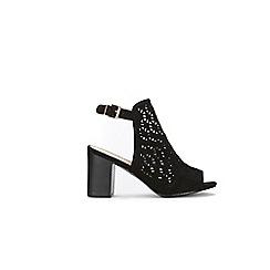 Wallis - Black laser cut buckle detail sandals