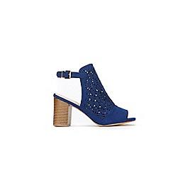 Wallis - Blue laser cut buckle detail sandals