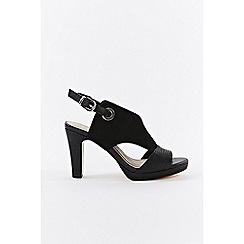 Wallis - Black eyelet detail heeled sandals