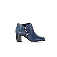 Wallis - Anneka navy side zip mix material ankle boot