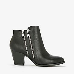 Wallis - Black double side zip ankle boots