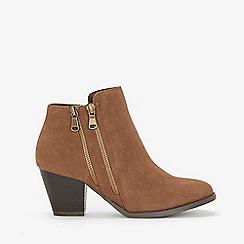 Wallis - Tan double side zip ankle boots