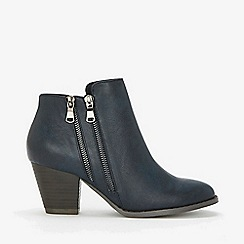 Wallis - Navy double side zip ankle boots
