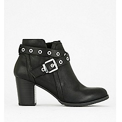 Wallis - Black eyelet strap buckle boots