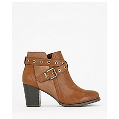 Wallis - Tan eyelet strap buckle boots