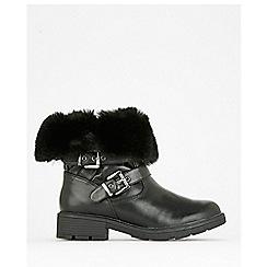 Wallis - Black buckle faux fur winter boots