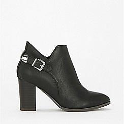 Wallis - Black deep cut buckle ankle boots