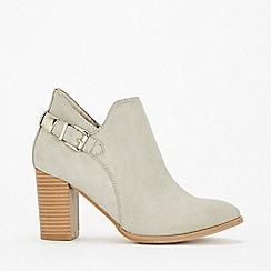 Wallis - Grey deep cut buckle ankle boots