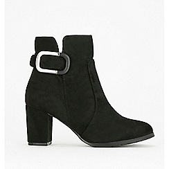 Wallis - Black buckle heeled ankle boots