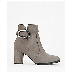 Wallis - Grey buckle heelsed ankle boots