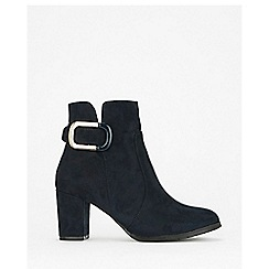 Wallis - Navy buckle heelsed ankle boots
