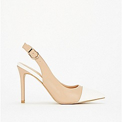 Wallis - Cream toecap hight heel court shoes