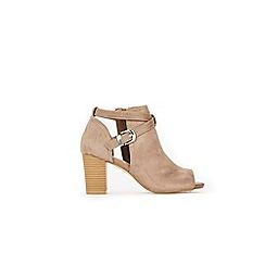 Wallis - Taupe open waisted buckle detail peep toe shoe boots