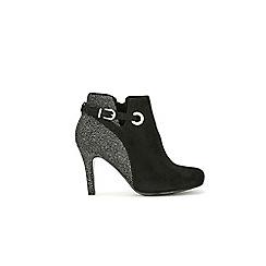 Wallis - Black mix material eyelt boot