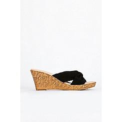 Wallis - Black knot wedge sandals