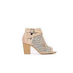 Wallis - Taupe laser cut buckle detail ankle boots